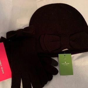 NWT Kate Spade Beanie/Glove set with Bows